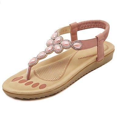 LvYuan Damen-Sandalen-Kleid Lässig-PU-Flacher Absatz-Andere-Rosa Mandelfarben Pink