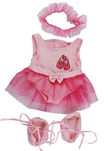 Rosa Ballet Teddybär Outfit Kleidung für Teddybären messen 40 cm vom Kopf bis zur Ferse und Build-a-Bear