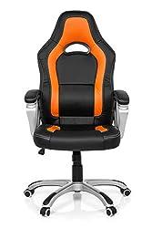 MyBuero Drehstuhl Gaming Zone PRO AB100 Kunstleder Schwarz/Orange Racing Bürostuhl mit Wippfunktion 722050