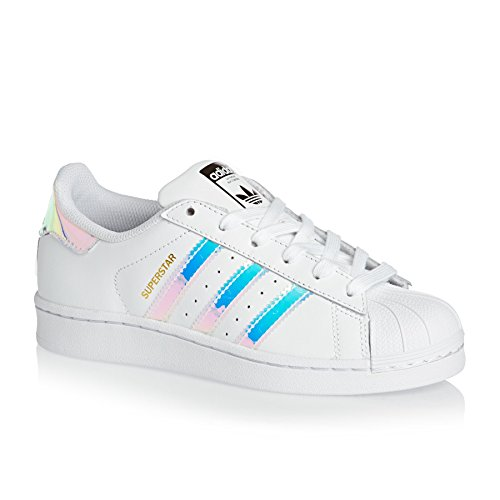 adidas Youth Superstar White Metallic Silver Leather Trainers 36 2/3 EU - Adidas Superstar Basketball-schuhe
