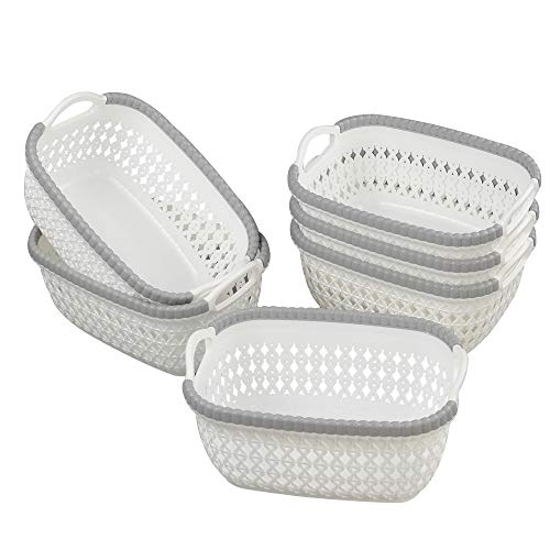 Yubine Korb aus Kunststoff, Rattan, Weiß, 6 Stück (Warenkorb-geschenk-korb)