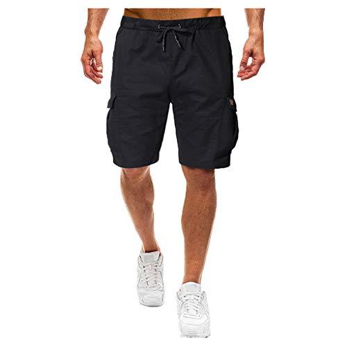 Löwen Camo (MOTOCO Herren Casual Print Shorts Sommer Sport Camo Cargo Shorts elastische Taille Tasche(2XL,Schwarz-2))