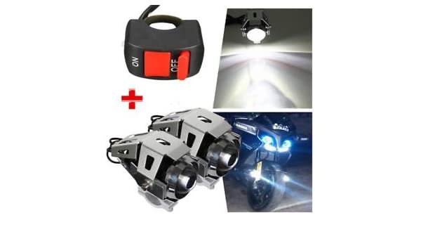 4 LED U5 Bike Motorcycle LED Fog Spot Light Lamp Headlight Driving /& Kill Switch