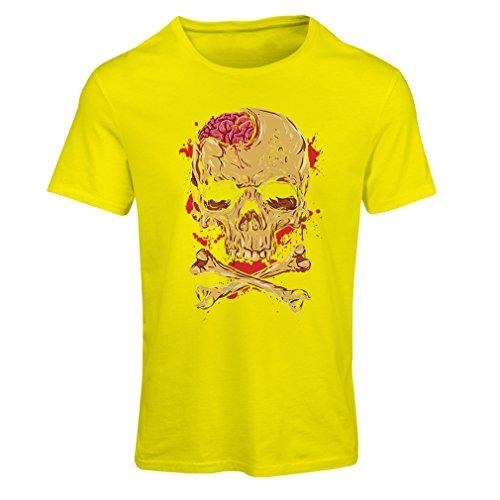 Camiseta mujer La calavera (Medium Amarillo Multicolor)