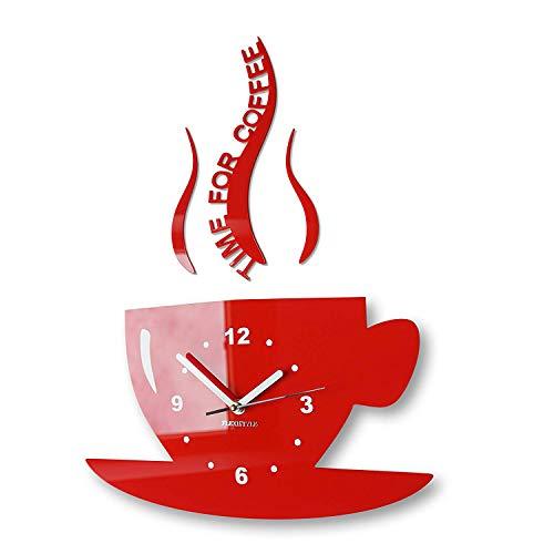 Moderno reloj de pared de cocina TAZA, acrílico, rojo, 32 cm x 19 cm,