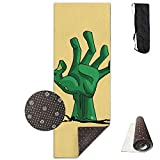 Roue Yoga Mat Non Slip Zombie Hand Printed 24 X 71 Inches Premium for Fitness Exercise Pilates with Carrying Strap