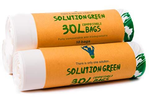 Solution green | 30 litri sacchetti biodegradabili per pattumiera umido da cucina | compostabili e organici, 30 sacchetti (30 litri)