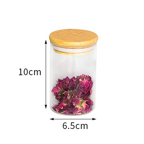 Bambus holz deckel glas versiegelt transparente glasflasche mit deckel (2 packungen) -A 6.5x10cm(3x4inch) - Joghurt-gläser Glas