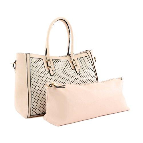 Damentasche Handtasche Tasche Tragetasche Lederimitat Kunstleder LK138045 Hautfarben