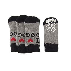 Dcolor4 x Chaussettes de chien douces chaudes antiderapantes en acrylique