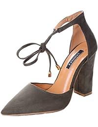Minetom Mujer Verano Elegante Moda Rosa Bordado Tacón Sandals Tobillo Correa Hebilla Sandalias Pointed Toe Zapatos de Tacón Alto