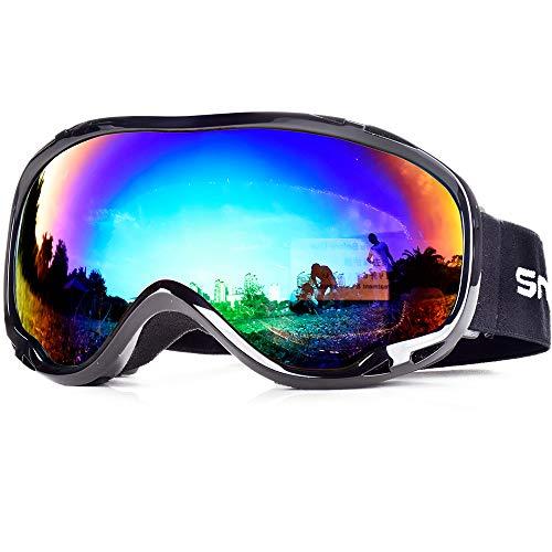SnowledgeSkibrilleDamen& Herren SkiGogglesUV400 Schutz Doppelscheibe Anti-BeschlagHelmkompatiblefür Brillenträger (B-Fake Green)