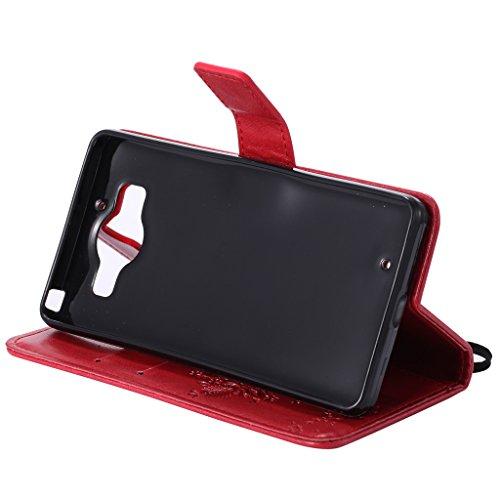 Custodia Microsoft Lumia 950 Cover Case, Ougger Fortunato Foglia Stampa Portafoglio PU Pelle Magnetico Stand Morbido Silicone Flip Bumper Protettivo Gomma Shell Borsa Custodie con Slot per Schede (Ner Rosso