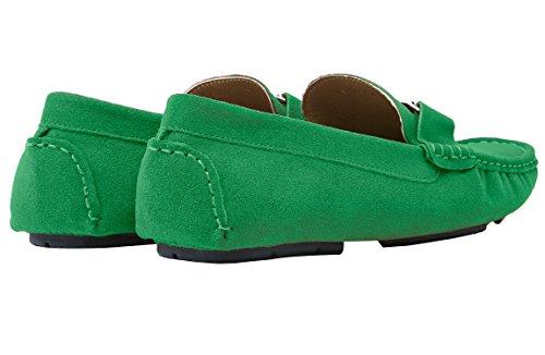 Santimon Mocassini Scarpe Barca Da Uomo Moda Slip On Casuale Scarpe con Oro Fibbia Verde