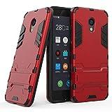 tinyue® Handyhülle für Meizu M5C, Hülle 2 in 1 Material Harte Schwer doppelte kratzfester Handyfall im Freienhandyfall Iron Man Rüstung mit Kickstand Case, Rot
