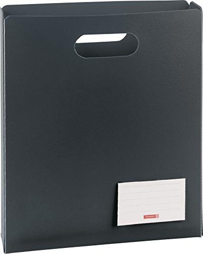 Brunnen 104163580 Heftbox FACT!pp (25 x 31 x 5 cm, aus transluzente PP-Folie für A4 Hefte und Schnellhefter, oben offen) schwarz / onyx -