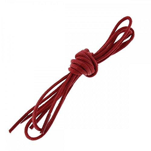 Les lacets Français Lacets Ronds Coton Ciré Couleur Rouge Vermillon