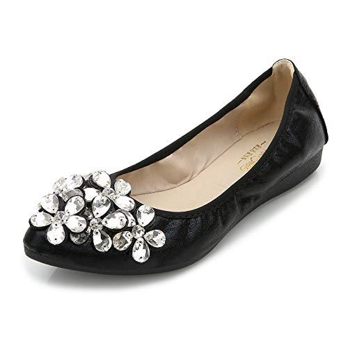 FLYRCX Women's Shallow Shoes Flat ShoesPortable travel Shoes Collapsible Ballet Shoes Casual Comfortable Soft Non-Slip Maternity Shoes, 40 EU, Black - Womens Casual Ballet Flat