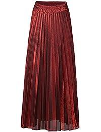 Jolisson Damen Rock Faltenrock A-Linie Lang Plisseerock Hohe Taille Vintage  Metallic Glänzend Partywear,… 1971ad87e1