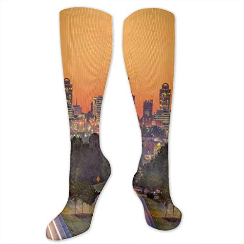 Unisex Highly Elastic Comfortable Knee High Length Tube Socks,Skyline Of Columbia City South Carolina Main Street Urban Scene,Compression Socks Boost Stamina,Orange Dark Green Blue -