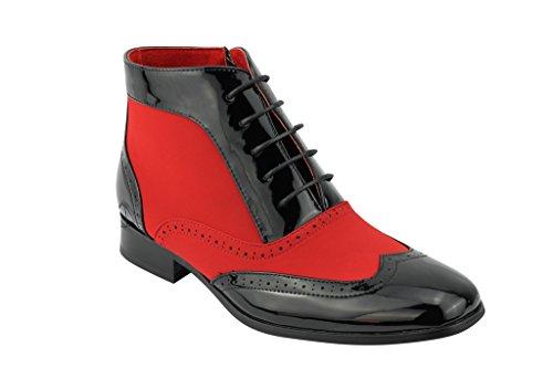 Rossellini Patent Leder Zank Ganster Herren Halbschuhe Zip Stiefeletten Fancy Party Schuhe, Schwarz - schwarz/red - Größe: 42.5
