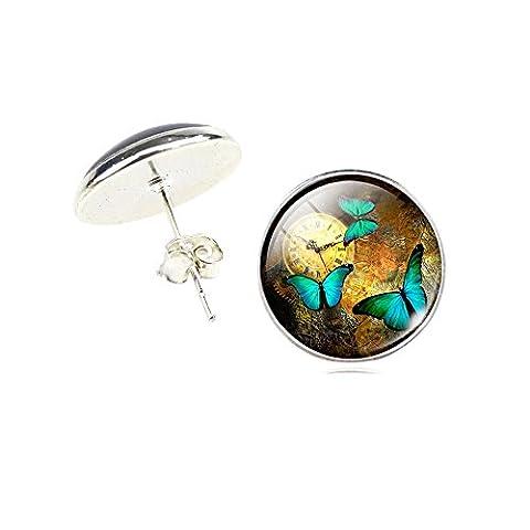 Butterfly Glass Stud Earrings (Yellow)