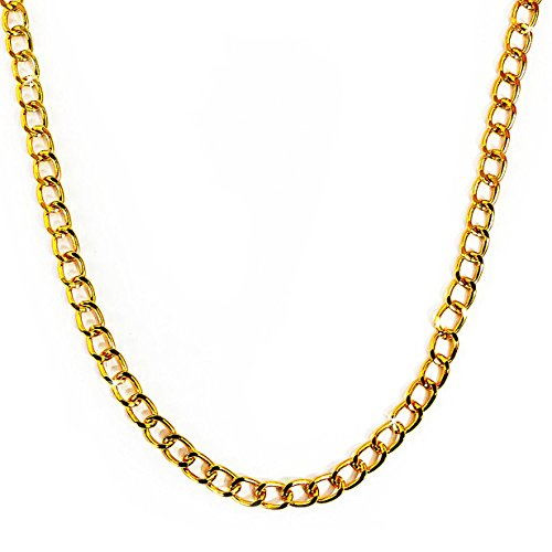 Oblique Unique® Kette, Rapper Gold Goldene Rapper Gangster Kette - satter Goldlook - perfekt zum - Herr T Ketten Kostüm