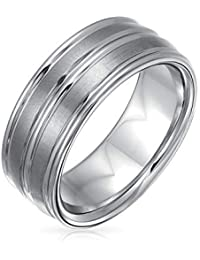 Bling Jewelry 8mm Banda Anillo con diseño Redondeado Ranura Doble de tungsteno de los Hombres