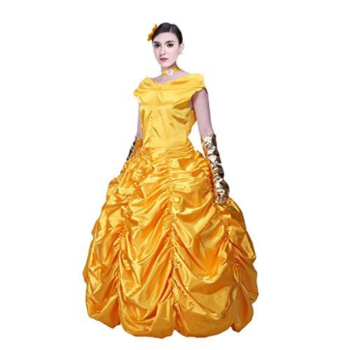 Pettigirl Ladies Prinzessin Kleid Yellow Abendkleid Cosplay Kostüm Karneval (Disneys Erwachsenen Biest Kostüme)