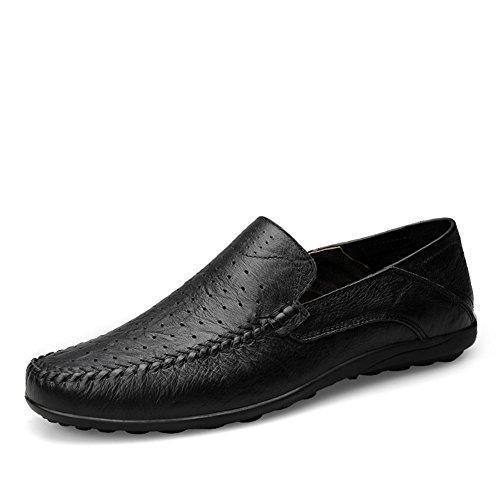 Mocassini uomo traspirante pelle estive ufficio boss lavoro casual scarpe,nero 43 eu