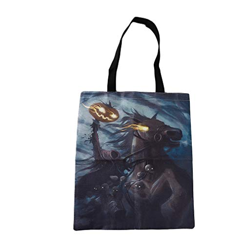MOONQING Canvas Tote Bag Schultertasche Shopping Grocery Halloween Tote Candy Bag, Pferd (Für Schule Die Halloween-party-leckereien)
