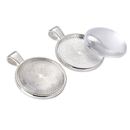 Lünette Silber überzogene Runde Tabletts mit 25 mm 24 Stück runde Glas Kuppel Fliesen klar Cameo (Lünette Mit Kuppel)