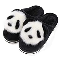 YLYMD 5 Size Cute Cartoon Animation Panda Women Slippers Ladies Non-slip Slip On Warm Plush Slippers Indoor Home Slippers Shoes