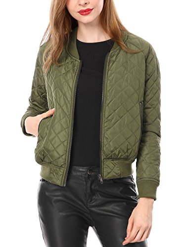 Allegra K Damen Langarm Raglan Reißverschluss Gesteppt Bomberjacke Jacke Grün M (EU 40)