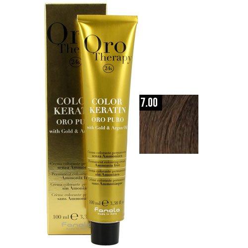 Fanola Farbveränderung Haarfarbe und Haartönung Oro Therapy Oro Puro Color Keratin Nr. 7,00 Mittelblond Intensiv 100 ml