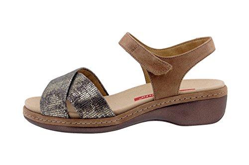 Piesanto confort Femme Chaussures Sandales-8805 cuir velcro Semelle amovible confortable large Vison