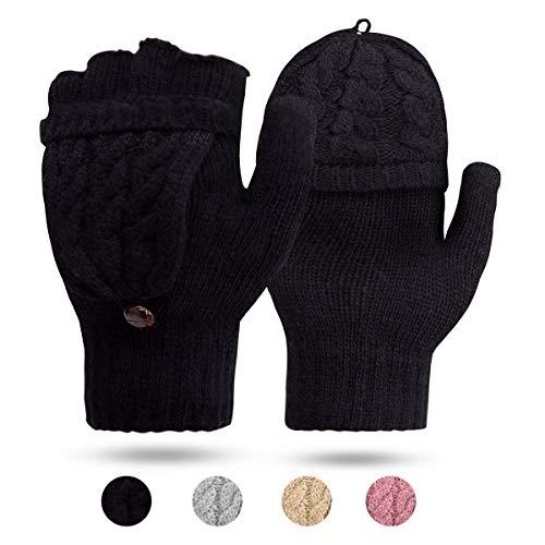ECOMBOS Damen Handschuhe Fingerlos, Winter Handschuhe Fingerlose Fäustlinge Damen Fingerhandschuhe Warm (Schwarz)