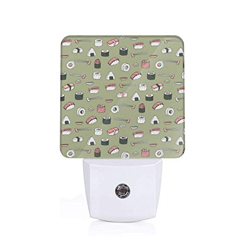 Sushi Japanese Food Cute Kawaii Cuisine Green Plug-in Night Light Warm White LED Nightlight Dusk-to-Dawn Sensor for children-UK (Dawn Food Products)
