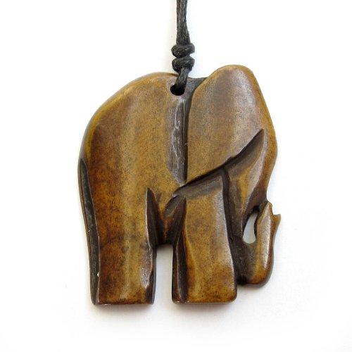 Ovalbuy Ox - Collar con colgante en forma de elefante, tallado en hueso