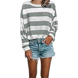AG&T❀ T-Shirt Femme Rayure Marinière Col Rond Classique Casual Fashion