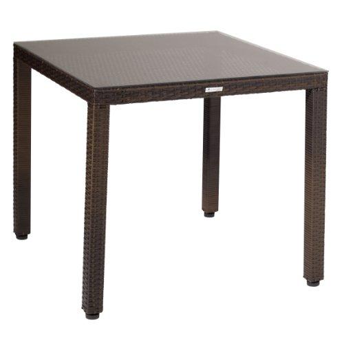 greemotion Tisch Milano braun bicolor, Esstisch mit Glastischplatte, Gartentisch aus robustem Polyrattan, Tisch mit höhenverstellbaren Füßen,  gastronomiegeeignet, Maße ca. 80 x 80 x 74 cm
