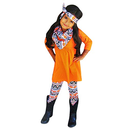 Kleinkind Kinder Baby Mädchen Kürbis T Shirt Aztec Hosen Halloween Kostüm Outfits Set, Kinder Langarm Halloween Kürbis Top Diamond Shaped Pants Hair Strap Set