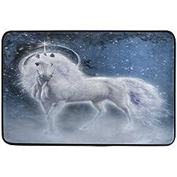 ALAZA - Felpudo de Noche, diseño de Unicornio Blanco, para Interiores y Exteriores, para Entrada de Suelo o baño, 60 x 40 cm