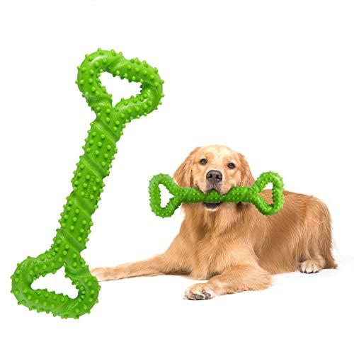 Haokaini 13-Zoll-Haustier-dauerhafter Knochen-Biss, gesundes Kauen-Knochen-Spielwaren, Hundeknochen unzerstörbar Biss Beißring Zahnreinigung (Color : Green) -