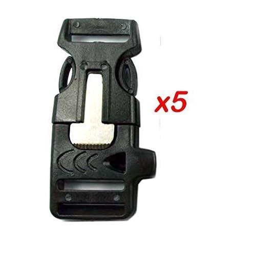 41P BRJspkL. SS500  - JER 3/4 Whistle Buckles w/Flint Fire Starter & Striker for Paracord Bracelet for Camping Hiking 5Pcs