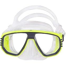 Corona Masque de plongée-Corrective Masque de plongée avec tuba, jaune fluo