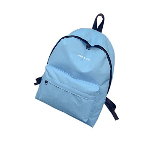 QHGstore Frauen-Mädchen-nette Reise-Schule-Beutel-Segeltuch-Rucksack-Schulter-Tasche Blau