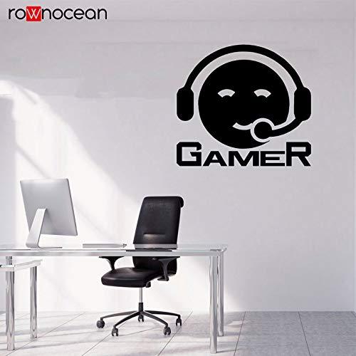 guijiumai Videospiel Wandtattoos Videospiel Art Gamer Vinyl Aufkleber Jungen Schlafzimmer Spielzimmer Dekoration Kopfhörer Gamer 82X75CM