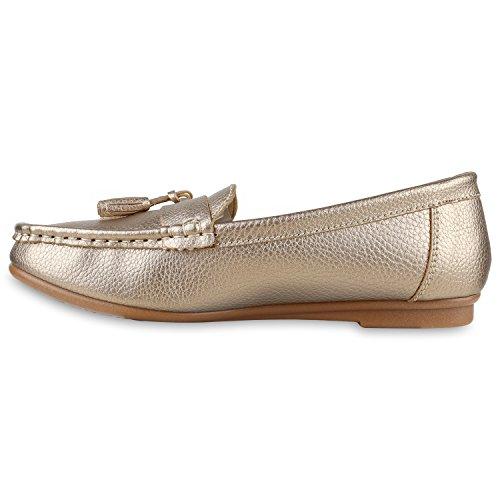 Damen Slipper Pastell Flats Schuhe Lederoptik Gold Bexhill
