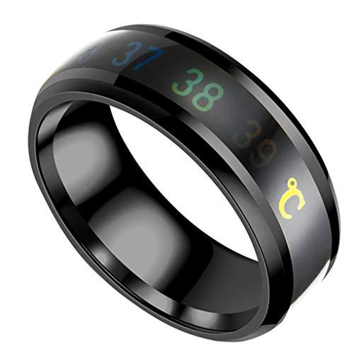 Junecat Smart-Temperatur-Edelstahl-Ring-Paar-Geliebt-Farbe ändern Stimmung Unisex Ring Hand Schmuck